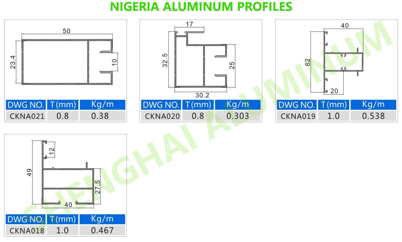 Aluminum Profiles for Nigeria, Nigeria Aluminium Profiles